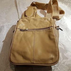 Travelon cream leather crossbody bag